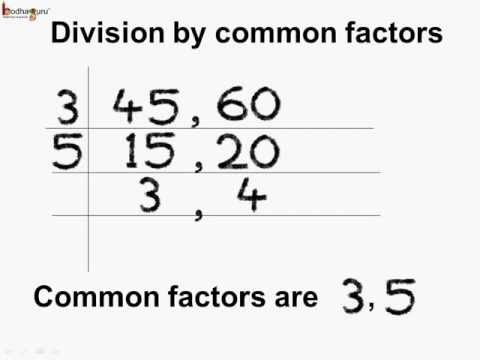 Math - How to find HCF Using Division By Common Factors Method  - English