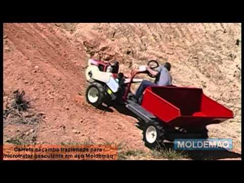Carreta Caçamba Tracionada Basculante em Aço para Microtrator