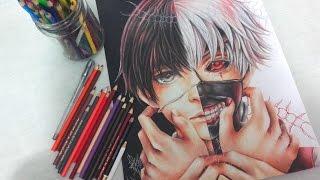 Colorindo Kaneki Ken (Tokyo Ghoul) metade de máscara/Speed Drawing