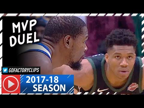 Kevin Durant vs Giannis Antetokounmpo MVP Duel Highlights 2018.01.12 Warriors vs Bucks SICK