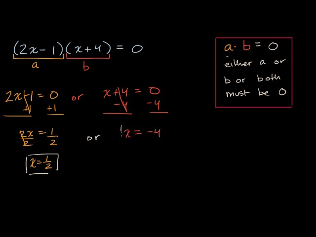 Solving equations with zero product property
