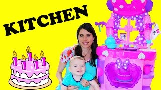 GIANT PLAY KITCHEN Cook N Learn with Chef Eli Minnie Mouse Surprise Kitchen Food Cooking Cake