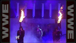 The Undertaker uses his powers to destroy the ring while Kurt Angle is in it: Royal Rumble 2006