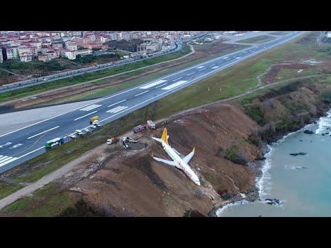 Xxx Mp4 Footage Shows Plane Stuck On Cliff Edge After Skidding Off Runway In Turkey 3gp Sex