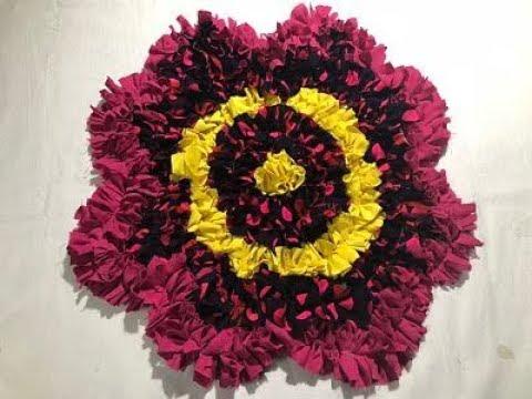 5 मिनट में पुराने कपड़ो से बनाए flower door mat table mat