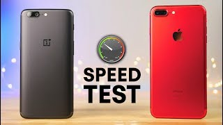 OnePlus 5 vs iPhone 7 Plus Speed Test!