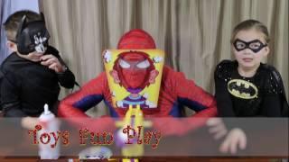 PIE FACE CHALLENGE! Spiderman vs Batman Batgirl - Superhero Kids In Real Life Pie Face Challenge
