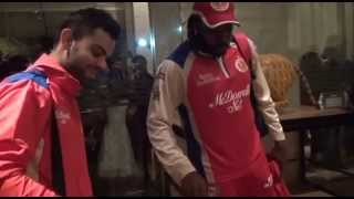 Cake cutting at the RCB team hotel to celebrate Gayle's 175