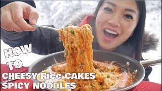 SNOW DAY + CHEESY RICE CAKE + SPICY NOODLES | *LETS EAT | SASVlogs *How To Recipe