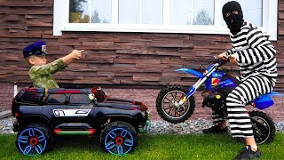 Funny Senya Unboxing and Playing Police Car Ride On Power Wheel Police Car and Pit Bike