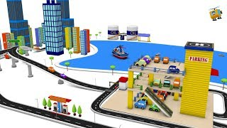 Car cartoon - Cars for kids - City Parking for children - Cartoon Cars - Toy Factory