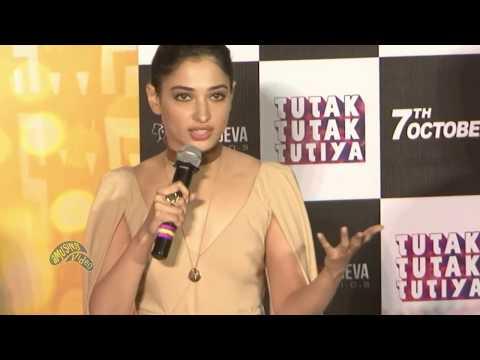 Hot Tamanna Bhatia Flaunting Assets in Nude Dress at Tutak Tutak Tutiya Trailer Launch