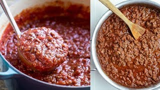 طريقة عمل صلصة اللحمة المفرومة [ صلصة اللحم ] Meat sauce