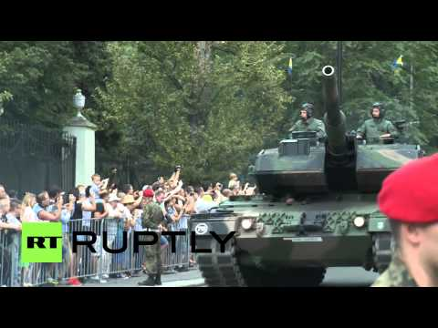 watch Poland: U.S. military march outside Russian embassy on Armed Forces Day