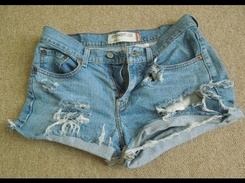 ♥ D.I.Y Distressed Jean Shorts SUPER EASY