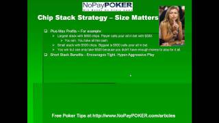NoPayPOKER.com Free Online Poker Guide to Chip Stack Strategy - Size Matters!