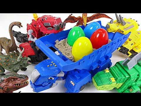A bad dinosaur stole dinosuar eggs! Dinotrux's transfoming surprise egg play! - DuDuPopTOY
