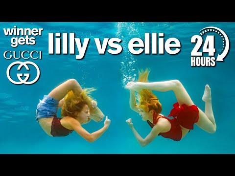 Lilly vs Ellie 24 Hour Underwater Photo Challenge Winner Gets GUCCI