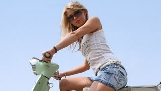 Hot Girl Droppes a Vespa Scooter - Funny