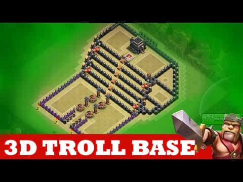 Clash Of Clans INCREDIBLE 3D TROLL BASE A MUST WATCH THE KINGS THRONE