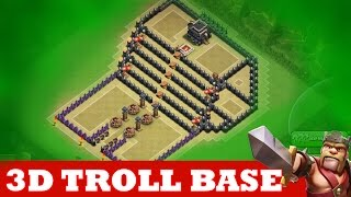 "Clash Of Clans | INCREDIBLE 3D TROLL BASE! A MUST WATCH! | ""THE KINGS THRONE"""