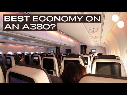 QATAR AIRWAYS A380 800 ECONOMY CLASS QR041 PARIS DOHA