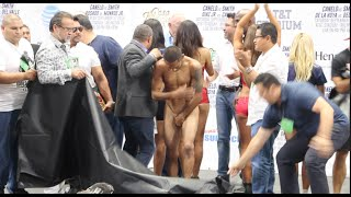 EMBARRASSING! ANDREW CANCIO GETS LEFT EXPOSED AT WEIGH-IN AGAINST JOSEPH DIAZ / CANELO v SMITH
