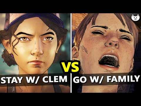 Stay With Clementine Vs Go With Family - BOTH ENDINGS RESULTS to The Walking Dead Season 3 Episode 1