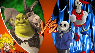 SANS and PAPYRUS vs SHREK and DONKEY! Cartoon Fight Club Episode 38 REACTION!!!