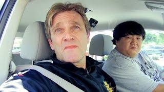 Robbie Brookside gives a driving lesson to WWE's Chinese recruits