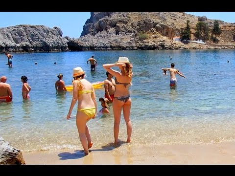 Ancient  Lindos Beach  (St Pauls Bay) Rhodes Greece June 2016