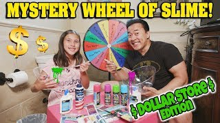 MYSTERY WHEEL OF SLIME $$$ DOLLAR STORE EDITION!!! Making Hairy Slime in the Bathroom Challenge!