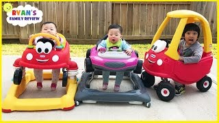 Babies and Kids playtime driving Little Tikes Cozy Coupe Car with Ryan