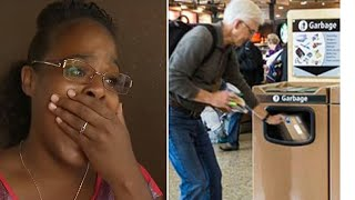 Woman Sees Crying Man Throw Gift In Airport Trash- What She Digs Out Breaks Her Heart