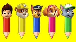 Pencil Paw Patrol Blasting Balloons Colors Learn Finger Family Song