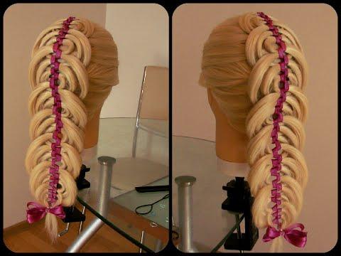 видео прически коса с лентой