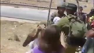 Palestinian girl protesting on arrest of her mother by Israeli Army
