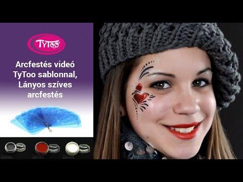 Arcfestés videó TyToo sablonnal, Lányos szíves arcfestés lépésről-lépésre
