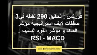 فوركس : تحقيق 290 نقطه في3 صفقات لايف استراتيجية مؤشر الماكد MACD و القوه النسبيه RSI - الجزء الثاني