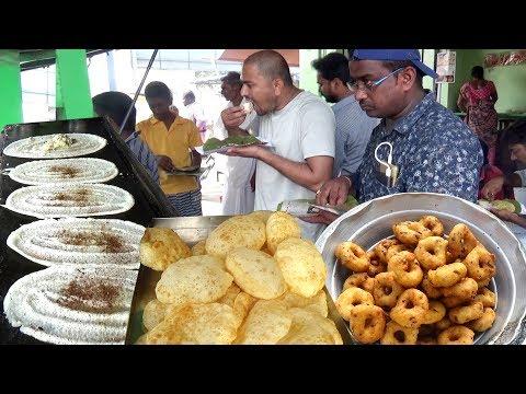 Crazy Breakfast Dosa Vada Poori Chapati 20 Rs Crowd Enjoying Cheap But Tasty Street Food