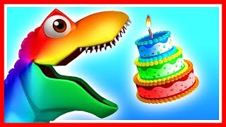 Learn colors with Happy Birthday Dinosaur. While eating cakes, this T-Rex has a surprise egg guest.