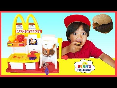 watch MCDONALD'S HAMBURGER MAKER & McDonald's Cash Register Toys for Kids pretend Play Feed Pet Shark food