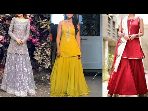 beautiful new lehenga with short kurta design ideas/indian wedding season outfits/simple dresses