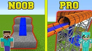 Minecraft: NOOB VS PRO!!! - WATER SLIDES IN MINECRAFT!