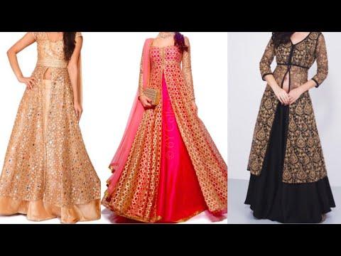 top beautiful front slit kurta with Lehenga design ideas/Indo western outfits ideas for wedding
