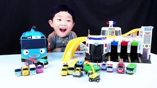 [With Kids]Little Bus Tayo Emergency Center Animation Toys Playset Car Toy Fire Truck Engine
