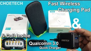 Qualcomm 3.0 Fast Charging Adapter & 5-Coil  Wireless Charging Pad Unboxing /Review