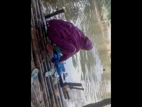 কি সুন্দর পুকুরে গোসল করা  gosol kora video