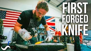 HIS FIRST TIME FORGING A KNIFE!?!