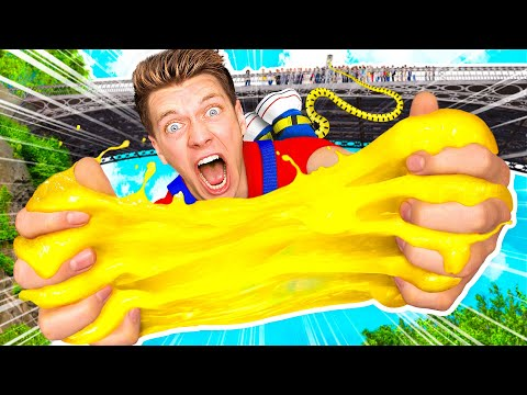 Extreme 140ft Bungee Jump VS Crazy Slime Making First To Hit Target Wins Challenge